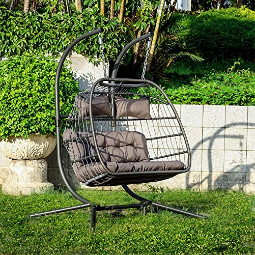 Carkoci Luxury 2 Person X-Large Double Swing Chair Wicker Hanging Egg Chair Outdoor Patio Bedroom Balcony Porch Lounge Comfortable Egg Chair Grey