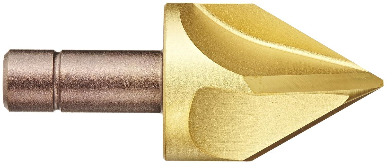 TiN Coated 1//2 Shank Diameter 4 Flutes 1-1//4 Body Diameter 60 Degree Point Angle KEO 55370 Cobalt Steel Single-End Countersink Round Shank