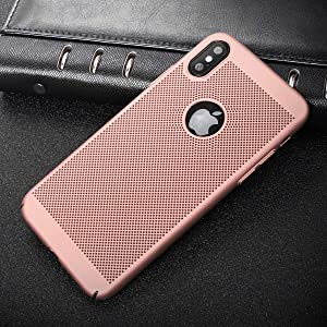 Breathable Ultra Slim Thin Case for iPhone X, Hard Plastic Full Protective Anti Fingerprint Breathing Cover (Rose)