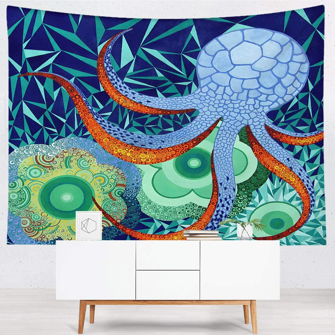 Octopus Hanging Wall Tapestries, Polyester/Thin Tapestry,Abstract Octopus Garden,Fashion Wall Tapestry for Dorm Bedroom Living Room,80x60 in