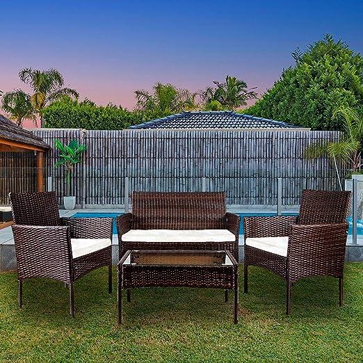 YOUKE Salon de Jardin Table de Jardin en resine tressee chaises Salon  d\'exterieur Poly rotin - 4 Places (Marron)