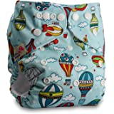 Littles & Bloomz, Reusable Pocket Cloth Nappy, Fastener: Popper, Set of 1, Pattern 27, Without Insert