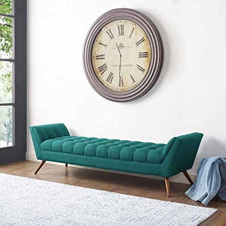 Modway Response Mid-Century Modern Bench Large Upholstered Fabric in Teal