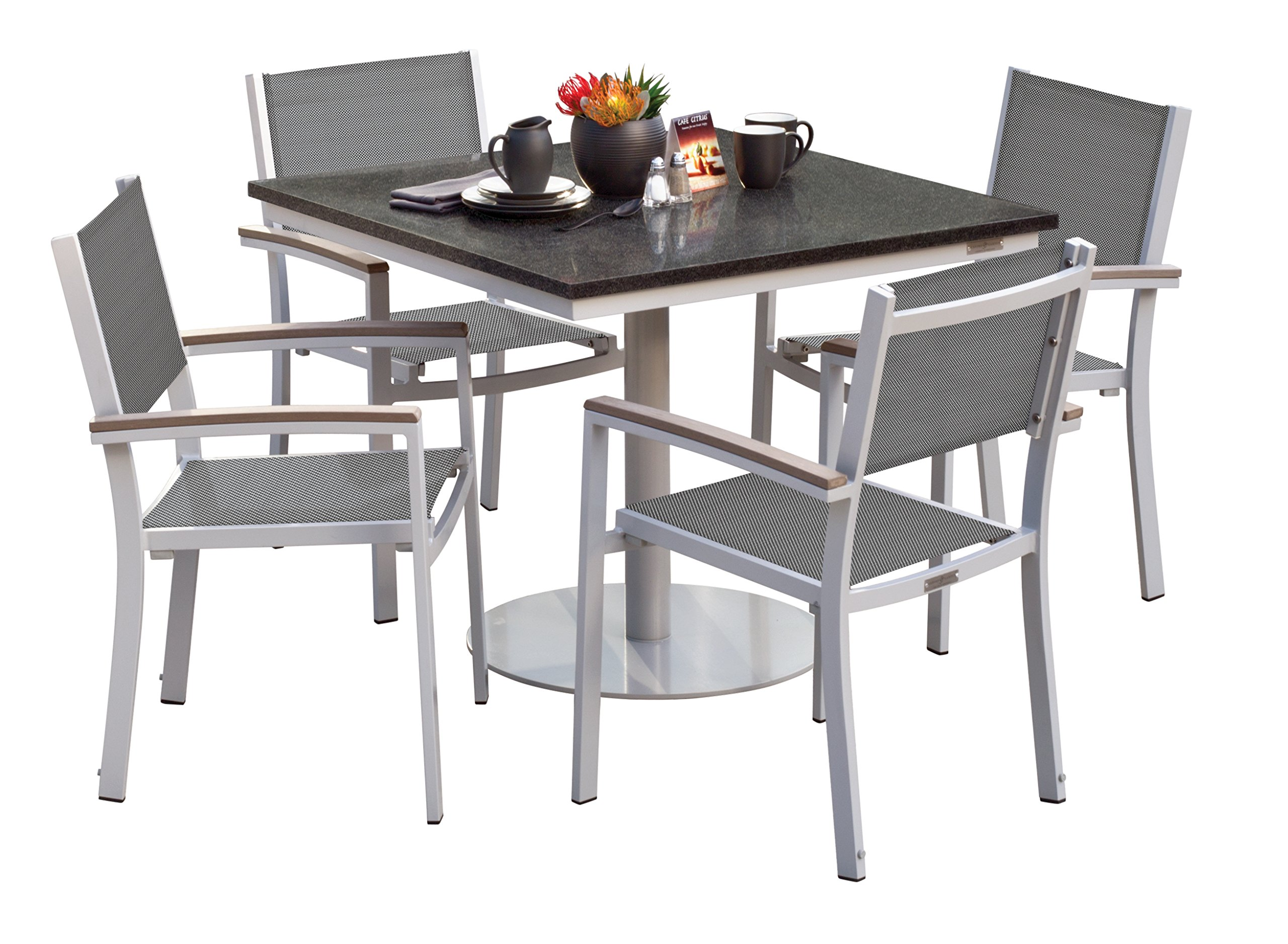 Oxford Garden 5360 Travira Light Weight Bistro Set with Square Table, Titanium