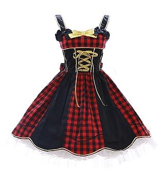 Kawaii-Story JL de 621 Rojo Cuadros Negro Classic Gothic Lolita Vestido Disfraz Dress Cosplay