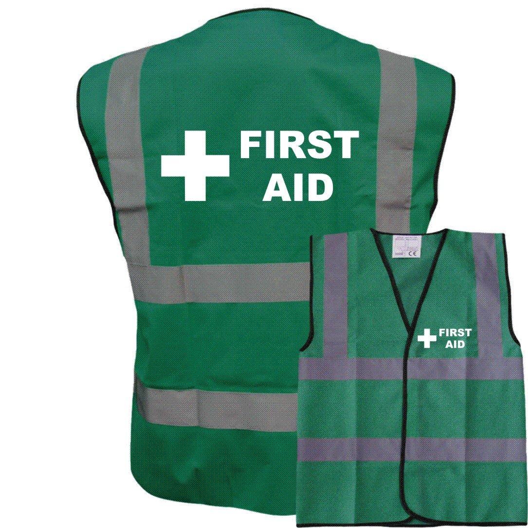 Printed Green Hi Vis Vest FIRST AID Waistcoat Safety Vest Plus a Brook Hi Vis UK Discount Code for your next order