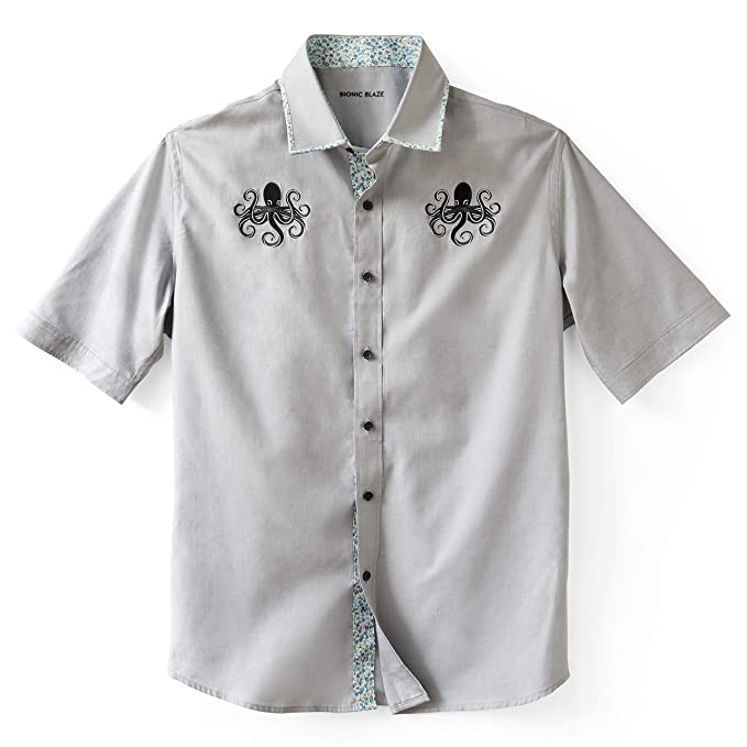 cca4105674c Bionic Blaze Button up Short-Sleeved Shirt - Slim Fit - Gray - Embroidered  Octopus