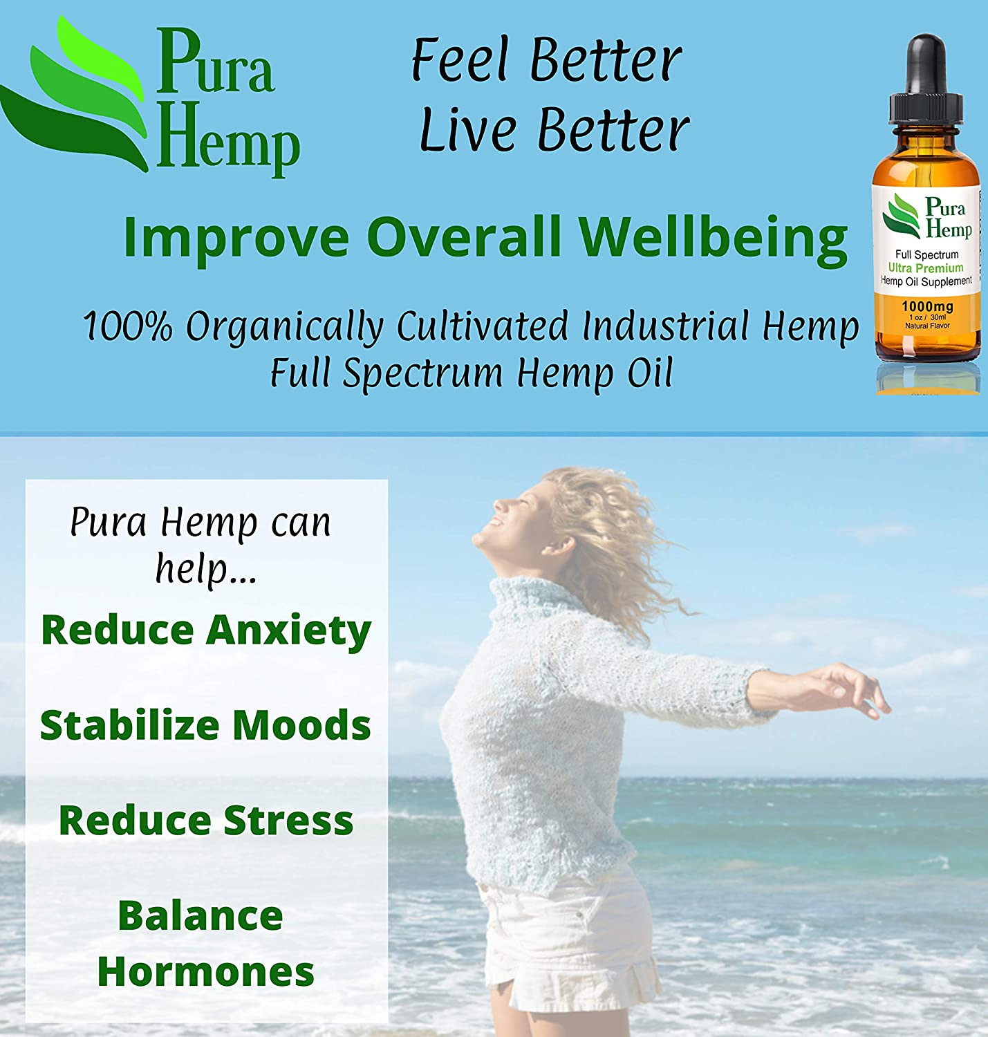 Amazon.com: PuraHemp - Full Spectrum Hemp Oil - 1000 mg 30mL - Natural Flavor - General Anxiety, Social Anxiety, Depression, Stress, Pain Relief, PTSD, ...