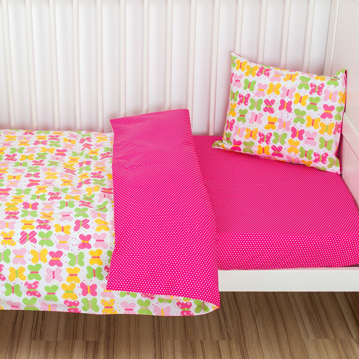 Toddler Duvet Cover and Pillowcase Bedding Set 100% cotton 90*135 cm Girls Pink mayabee