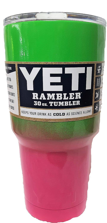 YETI Ramblerシリーズ 30オンス ステンレススチール製タンブラー パウダーコーティング加工済み カスタムカラー 30オンス B01MUAMX71 Lime Green/Hot Pink Lime Green/Hot Pink