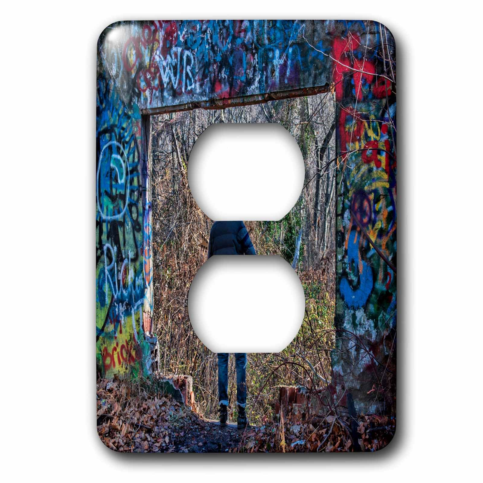 Roni Chastain Photography - Woman dressed as witch surrounded by graffiti - Light Switch Covers - 2 plug outlet cover (lsp_239749_6) by 3dRose