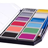 Blue Squid Face Paint for Kids 12 Color Palette | Jumbo Size Sturdy Case | 3 Brushes, Glitter Gel & Stencils | Best Quality Set | Vibrant Water Based Non-Toxic FDA Approved |+BONUS Online Guide