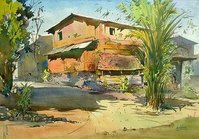 confidence standing watercolor painting by gulshan achari gulshan