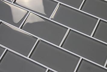 "10 Square Feet - Pebble Gray 3"" x 6"" Glass Subway Tiles"