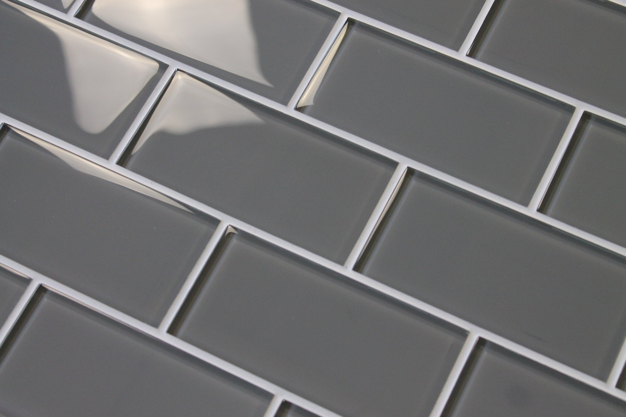 10 Square Feet - Pebble Gray 3'' x 6'' Glass Subway Tiles