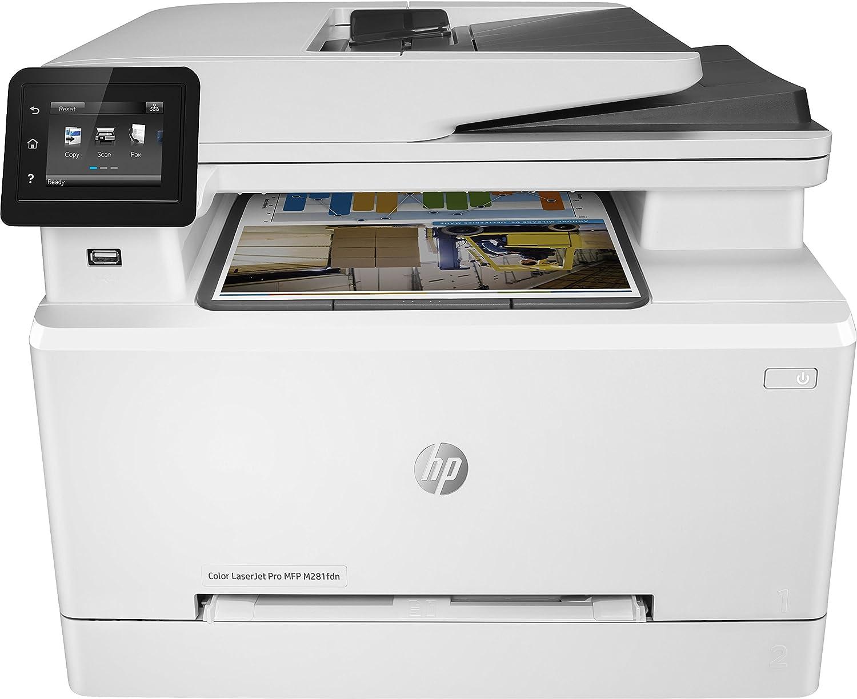 HP Color Laserjet Pro MFP M281fdn – Impresora láser multifunción (LAN, fax, copiar, escanear, Imprimir en Color, 21 ppm), Color Blanco