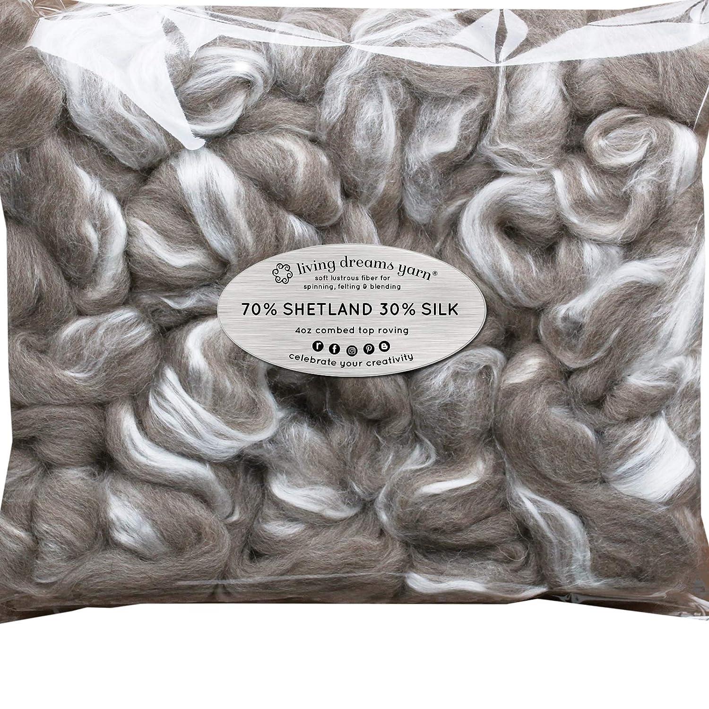 Shetland Wool TUSSAH Silk Combed Top Roving for Spinning, Felting, Blending. Soft & Lofty Fiber Blend, Natural Grey Living Dreams Yarn GBFibShetSkNatGrey