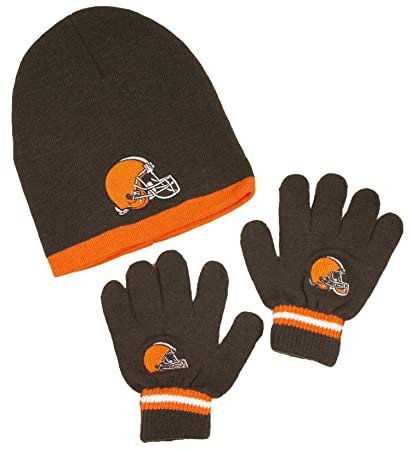 a8f273a4 Cleveland Browns NFL Little Boys Knit Hat and Gloves Set - Brown (Kids 4-7)