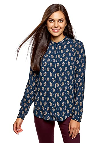 oodji Collection Mujer Blusa Estampada de Viscosa con Cuello MAO