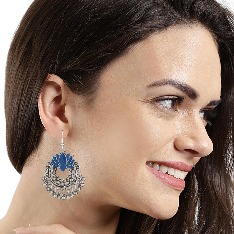 Efulgenz Indian Vintage Retro Ethnic Gypsy Oxidized Boho Dangle Drop Jhumka Jhumki Chandbali Earrings for Girls and Women Love Gift