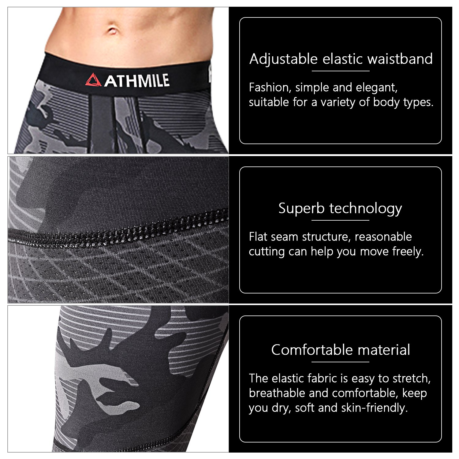 Athmile Mens Sports Compression Cool Dry Pants Workout Tights Running Base Layer Leggings/&Shirts for Hiking,Marathon,Basketball,Exercise and Fitness