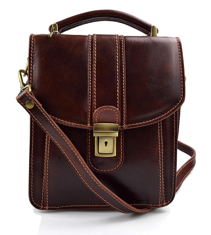 Bolso de cuero genuino cartero hobo bag bolso piel hombre bolso piel mujer bandolera messenger piel bolso de espalda de cuero marron