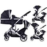 Dual combo Double pushchair with carrycot pram Newborn & toddler, tandem travel system buggy convertible carrycot to seat unit and toddler/child seat unit, Midnight Black by Kidz Kargo