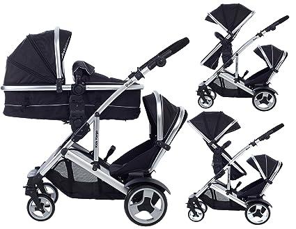 Dual Combo doble cochecito con capazo pram del Recién Nacido y del niño, tandem cochecito travel system capazo convertible ...