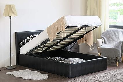 MODERNIQUE® - Somier otomano de almacenamiento de piel sintética, para cama pequeña doble y doble regular, con base de lamas con resortes, piel ...