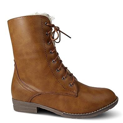 Damen Stiefel Stiefeletten warm gefüttert Schnürboots Boots Worker ST159 (39, Camel)