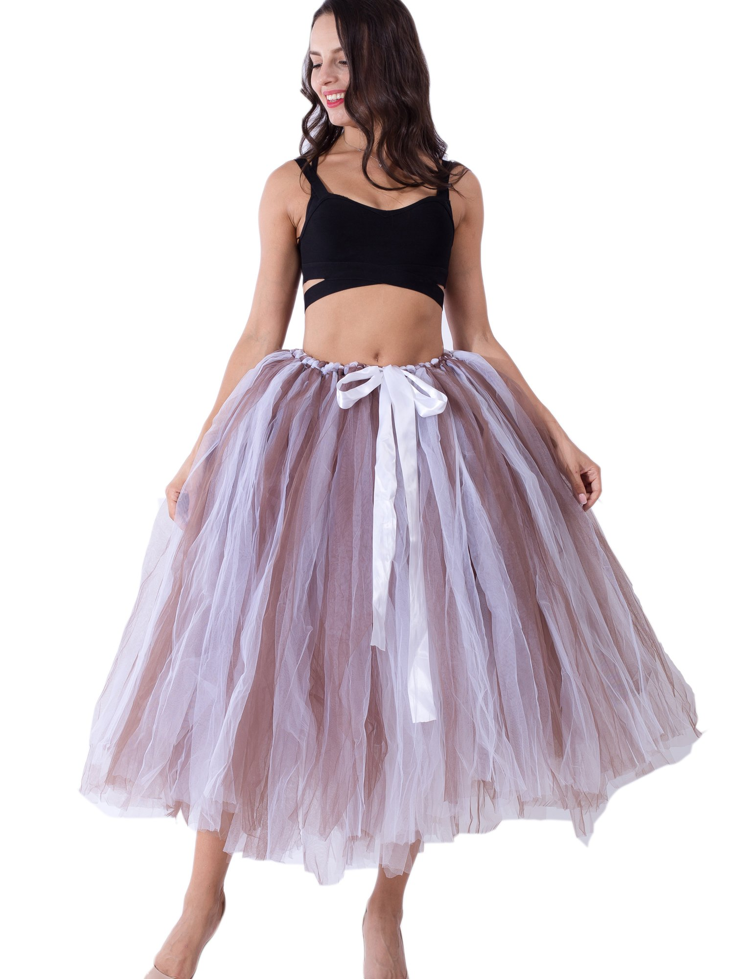 Dorchid Women Tutu Tulle Skirt Wedding Costume Party Self Tie Plus Size Brown White by Dorchid