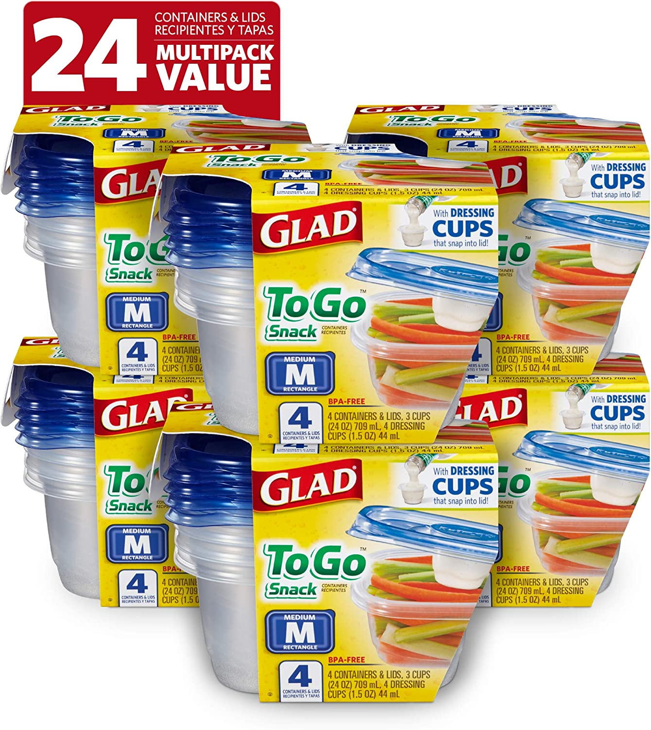 Glad Food Storage Containers, 4 Count (Pack of 6), Standard, 6