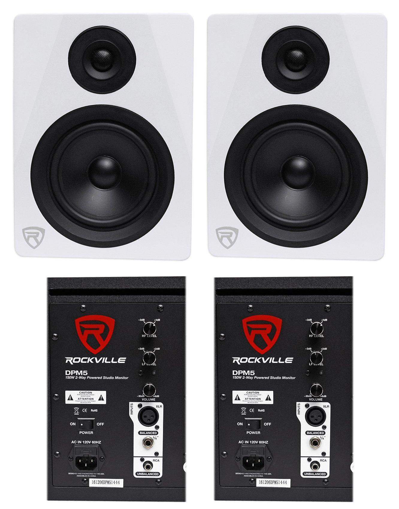 (2) Rockville DPM5W Dual Powered 5.25'' 300 Watt Active Studio Monitor Speakers