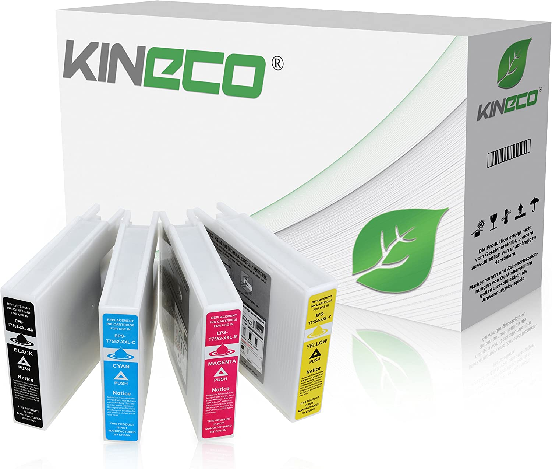 4 Kineco Tintenpatronen Kompatibel Für T7551 T7554 Epson Workforce Pro Wf 6530 Mfp Wf 8010 Wf 8090 Wf 8510 Wf 8590 Schwarz 130ml Color Je 70ml Bürobedarf Schreibwaren