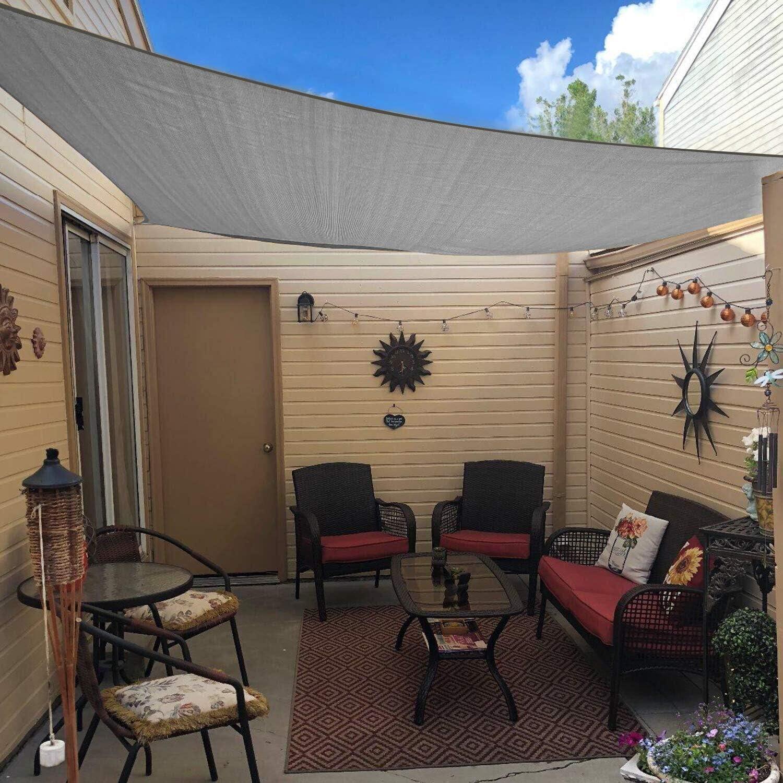 Amazon Com Artpuch Sun Shade Sail 7 X13 Rectangle Canopy Light Grey Cover For Patio Outdoor Backyard Shade Sail For Garden Playground Garden Outdoor