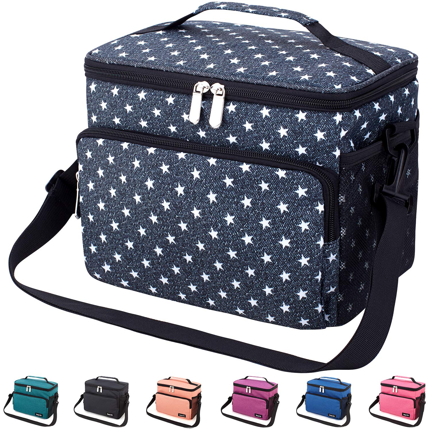 3237937e3f96 Leakproof Reusable Insulated Cooler Lunch Bag - Office Work School Picnic  Hiking Beach Lunch Box Organizer with Adjustable Shoulder Strap for ...