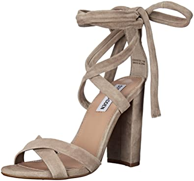 Steve Madden Women's Christey Dress Sandal, Taupe Suede, ...