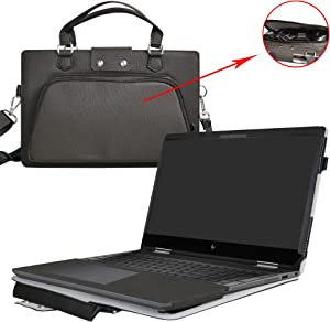 """Envy x360 15 Case,2 in 1 Accurately Designed Protective PU Leather Cover + Portable Carrying Bag for 15.6"""" HP Envy x360 15 15m-bp000 15m-bq000 Series Laptop(Not Fit 15-w000/15-aq000/15-ar000),Black"""
