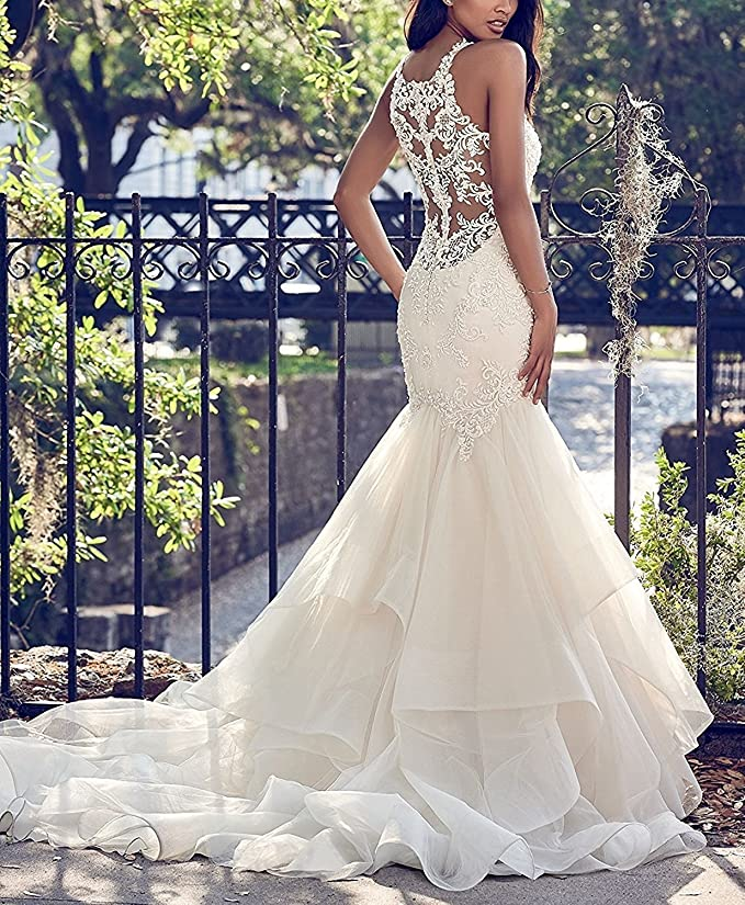 a148f6c2cff PearlBridal Ruffles Organza Mermaid Wedding Dress 2018 Applique Bridal Gown  with Train at Amazon Women s Clothing store