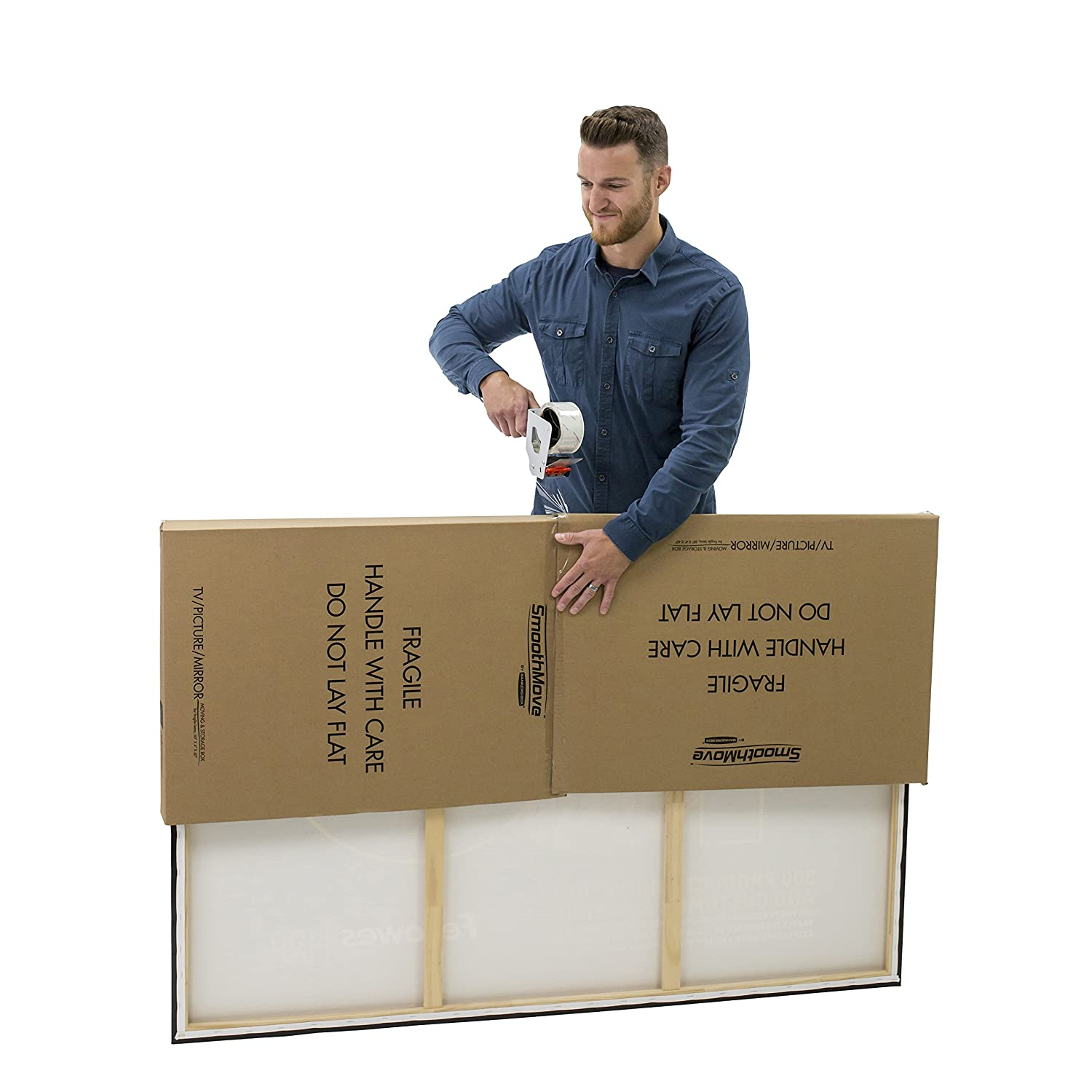 7711401 40 x 60 x 4 Inches 3 Pack Adjustable Bankers Box SmoothMove Picture//Mirror Box