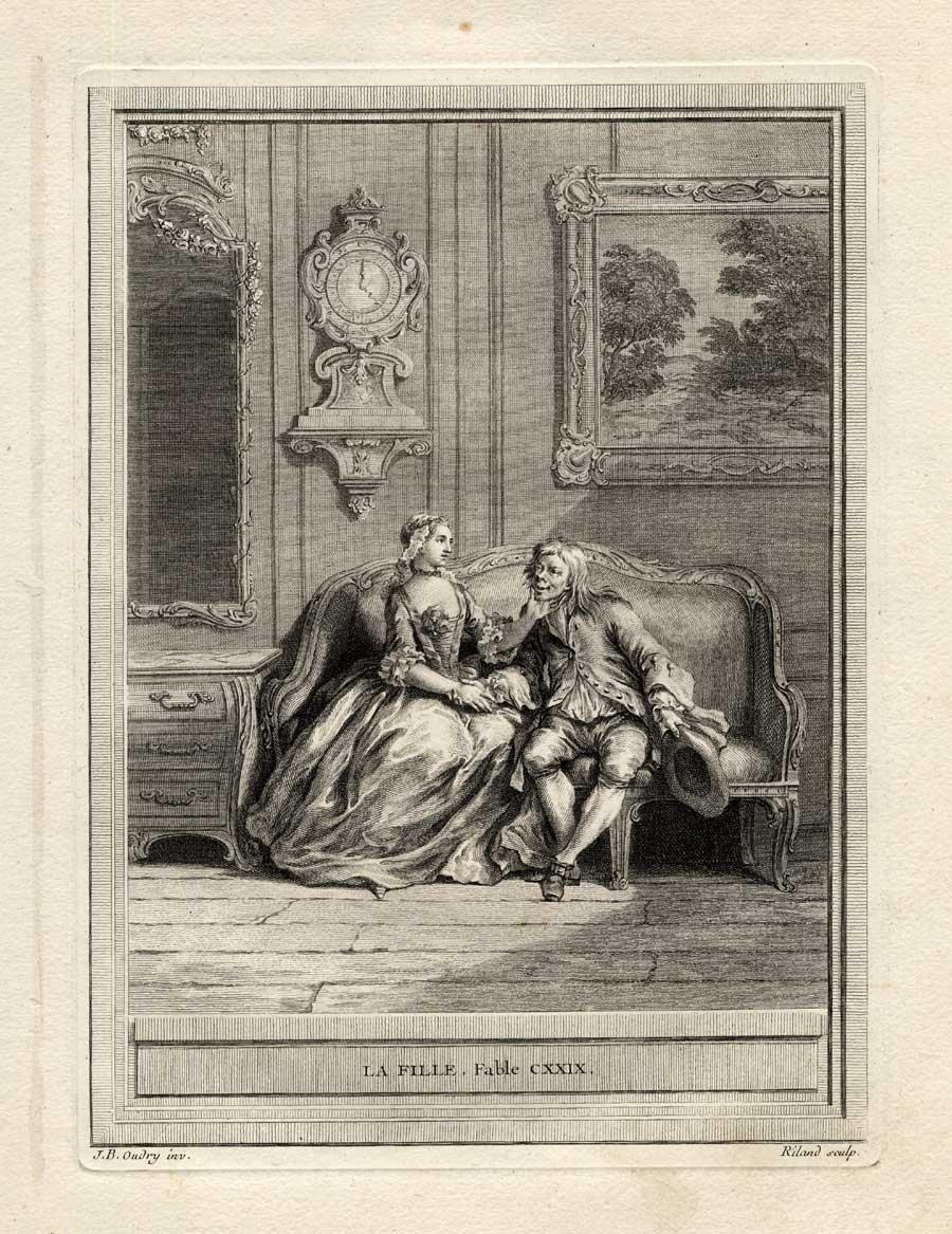 Antiguo ThePrintsCollector cruzerlite-voluntariedad-chica-chico-Romance-la Fontaine-1755
