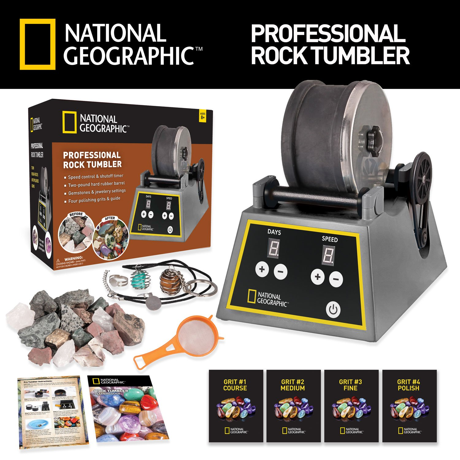 Professional Rock Tumbler by NATIONAL GEOGRAPHIC (Improved Quality Sept. 2016) by National Geographic (Image #2)
