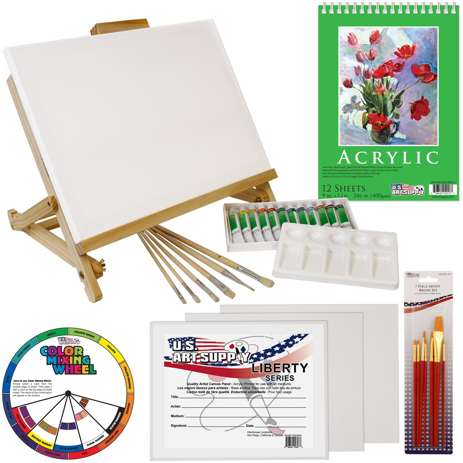 US Art Supply 33 Piece Custom Artist Acrylic Painting Set with Table Easel, Paint, Canvas and Accessories KIT-ACR-PS-071