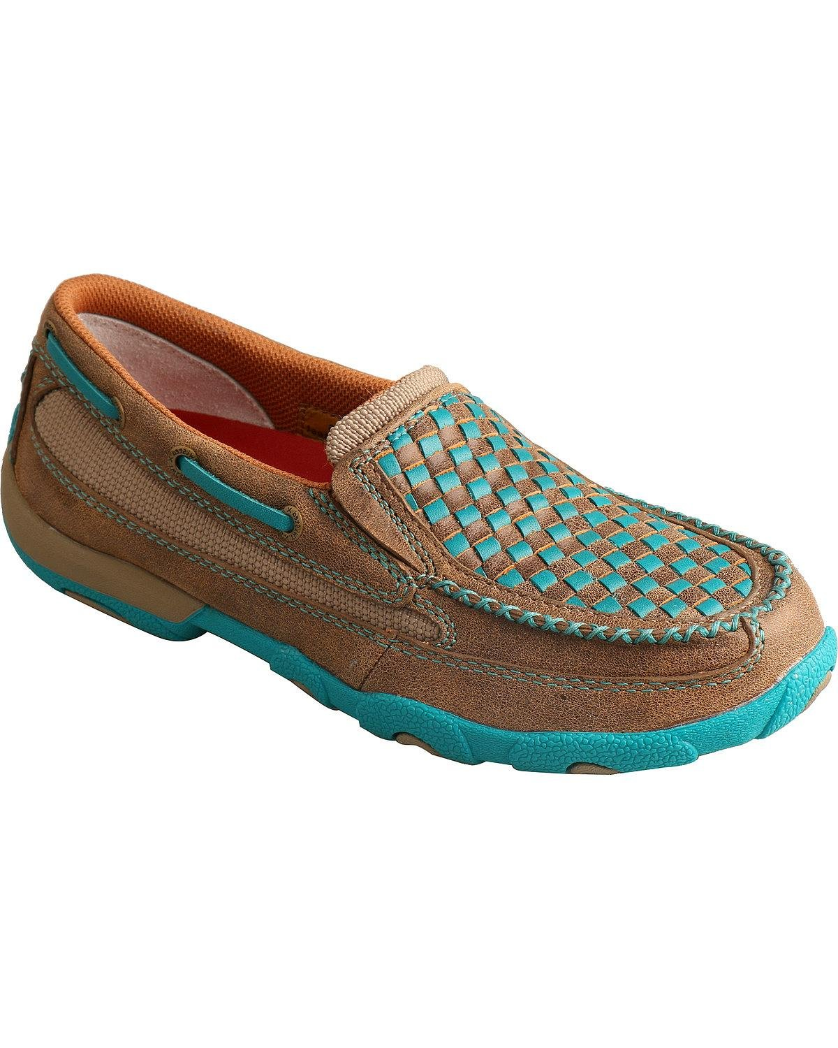 Twisted X Women's Bomber and Turquoise Check Driving Mocs - Wdms006 B01IZRUMFM 7.5 B(M) US|Brown