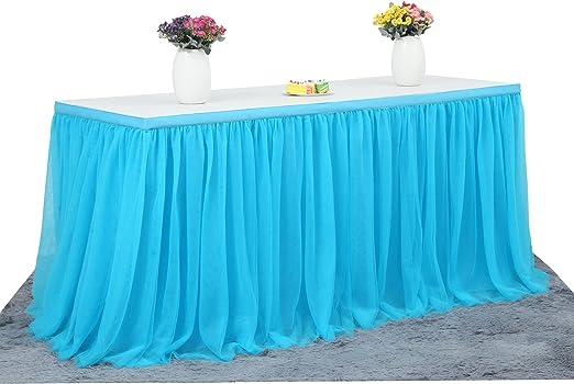 LED Table Skirt 6ft Blue Tulle Table Skirt Tutu Table Cloth Skirting for Rect...