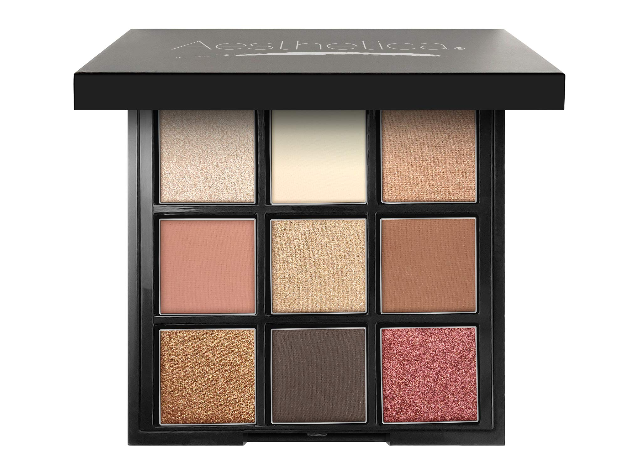Aesthetica''BE'' Eyeshadow Palette - Nine Shades - Glitter and Matte Eye Shadow Kit - (BE Natural - Nude)