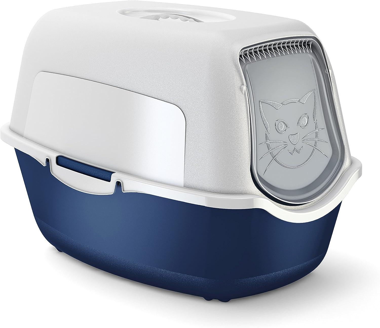 55.5 x 40 x 38.7 cm Inodoro para Gatos con Tapa Verde Menta y Blanco Pl/ástico Rotho Bailey sin BPA PP