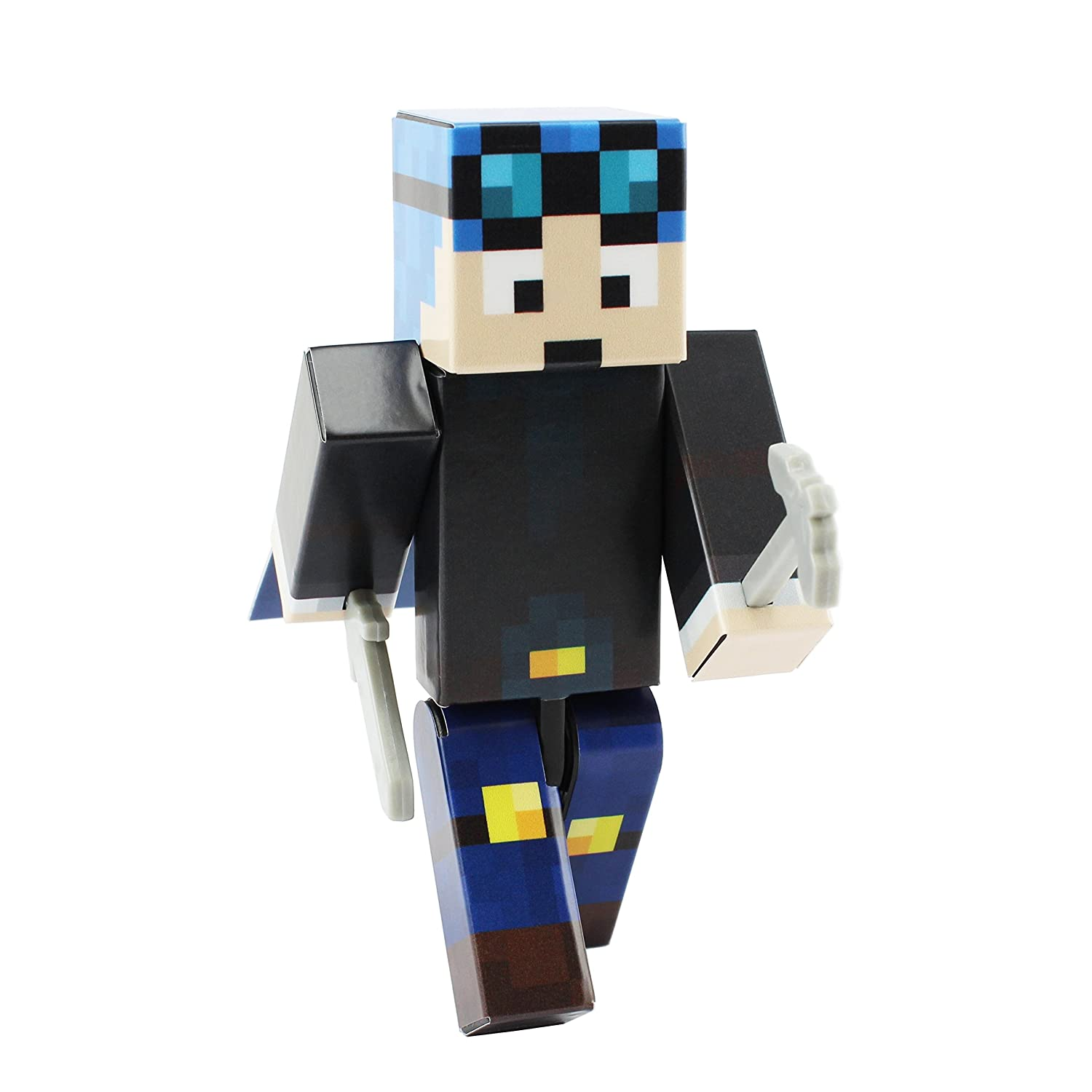 Blue Hair Miner Boy Action Figure Toy, 4 Inch Custom Series Figurines by EnderToys [Not an official Minecraft product] Seus Corp Ltd.