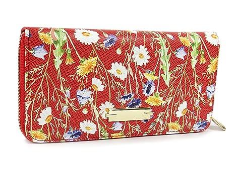 61eb031c1f533 Blumen Geldbörse Geldbeutel Damen Portemonnaie Reissverschluss bunt quer Rot