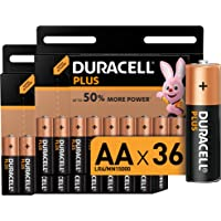 Duracell Plus AA Alkaline Batteries, 1.5 V LR06 MX1500, Pack of 36